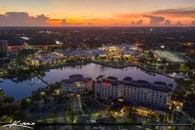 palm beach gardens aerial sunset downtown at the gardens