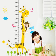 Us 1 43 20 Off Vinyl 3d Cartoon Animal Giraffe Monkey Flower Cloud Height Chart Wall Sticker Kids Room Living Room Wall Art Sticker Poster In Wall