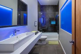 modern bathroom colors. A Blue Neon Light Infuses This Modern Bathroom With Cool Urban Glow. Crisp, Clean Lines And Zero Frills Add To The Chic Industrial Feel. Colors L