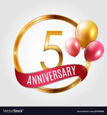 Anniversary Ribbon Template Gold Logo 5 Years Anniversary With Ribbon