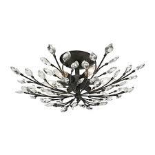 elk lighting crystal branches burnt bronze six light semi flush mount