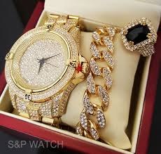 mens hip hop iced out rapper bling gold plated watch bracelet men hip hop iced out gold tone lab diamond watch ring bracelet combo set usa selerfeatures luxury gold tone hip hop stylish watch bracelet ring