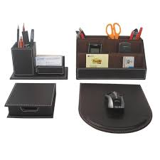 office decks. 4PCS/Set Leather Office Desk Stationery Accessories Organizer Pen Holder Box Mouse Pad Decks