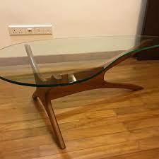 teardrop tempered glass coffee table