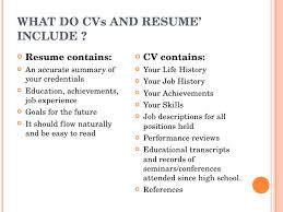 resume includes