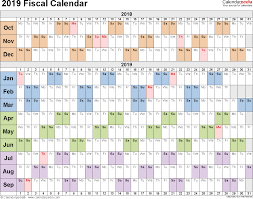 Financial Year Fiscal Calendars 2019 As Free Printable Word Templates
