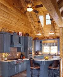 Slate Backsplashes For Kitchens Amazing Rustic Log Cabin Kitchen Design With Grey Kitchen Cabinets