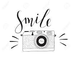 Photo Camera With Lettering Smile Vector Hand Drawn Illustration