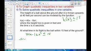 example solve quadratic inequality application problem 6 7 example 4 solve quadratic inequality application problem