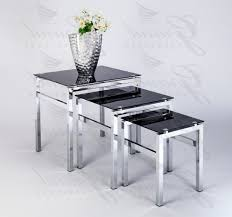 ... Coffee Table, Elsa Modern Glass Nest Of Tables Black 3 Lamp Side Coffee  Table Set ...