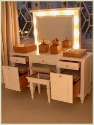 Dressing table with lift up mirror and lights