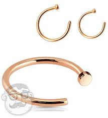 Nose Hoop Size Chart 20g 18g Rose Gold Stainless Steel Nose Hoop Ring