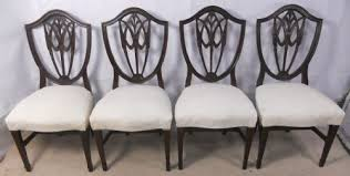 hepplewhite shield dining chairs set: set of four hepplewhite style shield back mahogany dining chairs