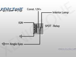 diy angle eyes fade on off unlock lock wire the interior lamp wire to the normally closed state on the relay wire the ign wire to the coil on the relay then wire the 12v to the on state of