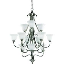 progress lighting torino 12 light brushed nickel chandelier with etched glass shade