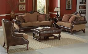 Attractive Brown Leather Ottoman Coffee Table 5 Piece And Set De