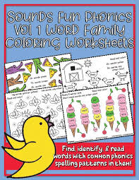 Covering, letters of the alphabet, short vowels, beginning and ending consonants, long vowels, vowel digraphs, s blends, r blends. Phonics Vol 1 Word Family Coloring Worksheets Heidisongs Heidi Songs