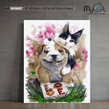 Tranh tô màu theo số DV0827 Tranh sơn dầu số hóa tự vẽ con vật chó và mèo  Paint by numbers kit