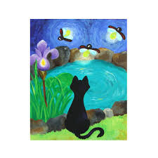 original painting black cat and fireflies 16x20 acrylic on canvas whimsical wall art decor on whimsical wall art on canvas with black cat and fireflies 16x20 original painting acrylic on canvas