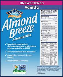 almond breeze dairy free almondmilk unsweetened vanilla 14 ounce