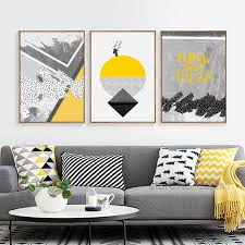 abstract deer posters and prints wall pictures for living room wall art yellow gray geometric paintings nordic poster unframed in painting calligraphy