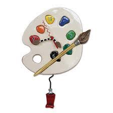 Allen Designs Allen Designs Art Time Painters Color Palette Pendulum Wall Clock 13 X 8 5 X 2 5 Inches