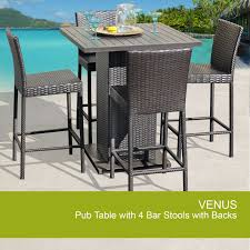 Royal Outdoor Wicker Pub Table With Bar Stools 5Piece Set Outdoor Wicker Bar Furniture