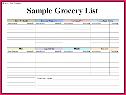 Grocery List Template Word You Should Experience On Price Templates ...