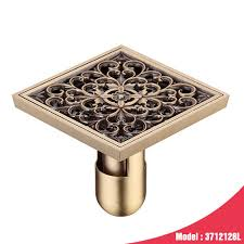 flower brass bathroom kitchen square shower drainer washing machine floor drain trap waste grate with hair strainer