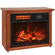 large room infrared quartz electric fireplace heater honey oak finish w remote