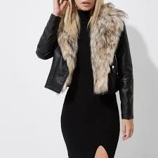 river island faux fur collar biker jacket womens black qy7vamixwz