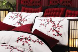 Asian Cherry Blossom Bedding Set Red White Comforter