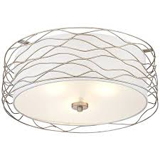 possini euro design double organza 16 wide ceiling light euro rivulet spun silver metal ceiling light