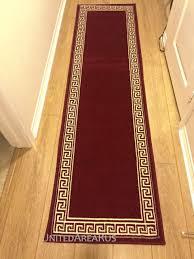 2x8 runner rug modern greek key design hallway solid burdy size 2 x7 2