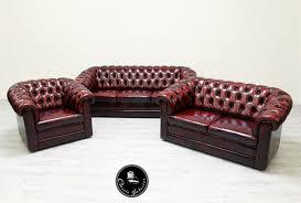 Chesterfield Sofa Garnitur Sessel Echtleder Couch Antik Oxblood Antikpalacede