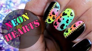 Easy & Cute Hearts Nail Art   Neon Nail Art Tutorial - YouTube