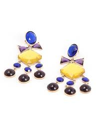 tiered chandelier earrings with blue purple and yellow swarovski crystals