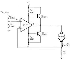 circuit diagram simple operational amplifier dc motor driver