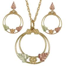 yellow gold black hills jewelry sets boomer style set dragonfly earrings g rosette circle necklace and