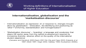 working definitions of internationalisation of higher education working definitions of internationalisation of higher education