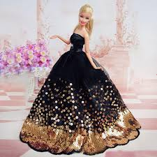 Amazing Black Dress With Of Gold Sequins Made To Fit For The Barbie Doll  Great Children Gift Birthday Supplies Baby Sets ... L