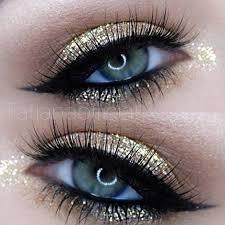 makeup ideas 2017 2018 gold glitter eye makeup