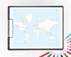 Coloring World Map Printable Adult Coloring