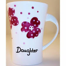 pink pansies daughter twist handle mug personalised gift