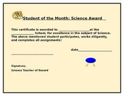 Student Of The Month Certificates Science Student Of The Month Certificate By House Of Knowledge And