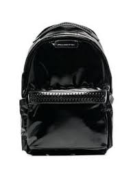 black Falabella Go faux patent leather backpack
