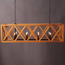 huge rectangle iron and wood chandelier