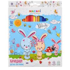 <b>Карандаши цветные</b> Mazari пластиковые Melody 24 цвета ...