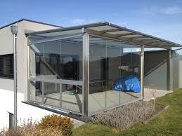 Moderne Terrassenüberdachung Mit Schiebetür Und Schiebefenster In