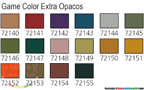 Gaianotes Color Chart Vallejo Game Colour Paint Set Extra Opaque 16 X 17ml